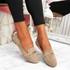 Lessy Khaki Buckle Flat Ballerinas