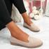 Grety Beige Studded Ballerinas