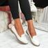 Kyja White Snake Skin Toe Ballerinas