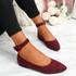 Offy Bordeaux Ankle Strap Ballerinas