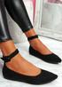 Offy Black Ankle Strap Ballerinas