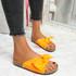 Lela Orange Bow Flat Sandals