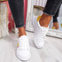 Minno White Yellow Lace Up Trainers