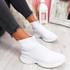 Mimi White Knit Sock Sneakers
