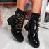 Bonne Black Patent Buckle Ankle Boots