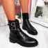 Nibba Black Pu Biker Ankle Boots