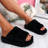 Onso Black Fluffy Sliders