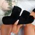 Lobi Black Fluffy Sandals