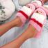 Goka Pink Fluffy Flatform Sliders
