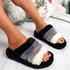 Goka Black Fluffy Flatform Sliders