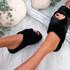 Monny Black Fluffy Sliders