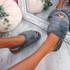 Ponna Dark Grey Fluffy Sandals