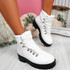 Hidda White Lace Up Ankle Boots