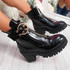 Birra Black Croc Chunky Ankle Boots