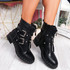 Lunne Black Pu Studded Ankle Boots