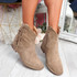 Nessya Khaki Fringe Ankle Boots