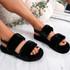 Cinny Black Fluffy Sliders