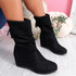 Juddy Black Mid Calf Ankle Boots