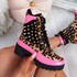 Ivna Leopard Spike Studded Ankle Boots