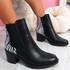 Nuwa Black Zebra Block Heel Ankle Boots