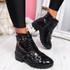 Neffa Black Croc Ankle Boots