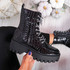 Zanna Black Croc Chunky Ankle Boots