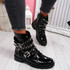 Bavy Black Patent Studded Ankle Boots