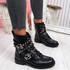Bavy Black Pu Studded Ankle Boots