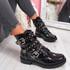 Bavy Black Patent Croc Studded Ankle Boots