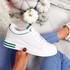 Huvy White Green Lace Up Trainers
