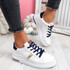 Dibby White Champagne Lace Up Trainers
