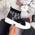 Zenny Black White Flowers Sock Trainers