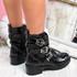 Lobbe Black Patent Croc Ankle Boots