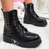 Cabby Black Studded Ankle Boots