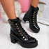 Evrinne Black Chunky Ankle Biker Boots
