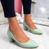 Pressy Green Croc Block Heel Pumps