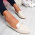 Revvy Beige Patent Flat Ballerinas
