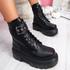Vorry Black Buckle Biker Ankle Boots