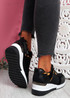 Milla Black Wedge Platform Trainers