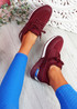 Monty Wine Red Lace Up Trainers