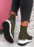 Heny Dark Green Wedge Sock Sneakers