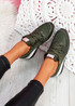 Mifa Dark Green Croc Pattern Sneakers