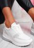 Mifa White Croc Pattern Sneakers