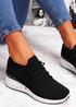 Jumma Black Knit Low Heel Sneakers