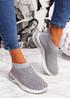 Zety Grey Studded Slip On Sneakers