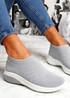 Muzy Grey Knit Slip On Trainers