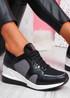 Ymma Black Wedge Sneakers