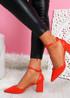 Metto Red Block Heel Pumps
