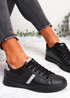 Pobe All Black Lace Up Trainers