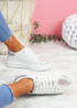 Ribba White Silver Snake Glitter Trainers